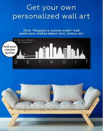 Panoramic Detroit Silhouette Canvas Wall Art - image 3