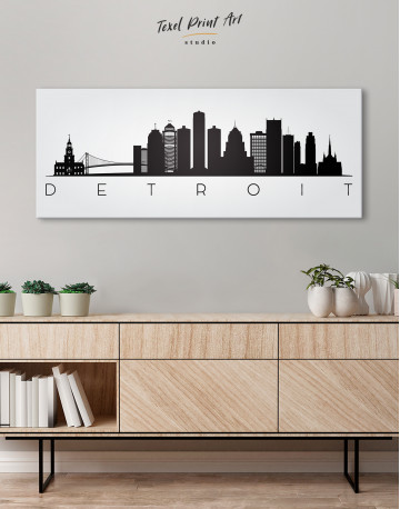 Panoramic Detroit Silhouette Canvas Wall Art - image 2