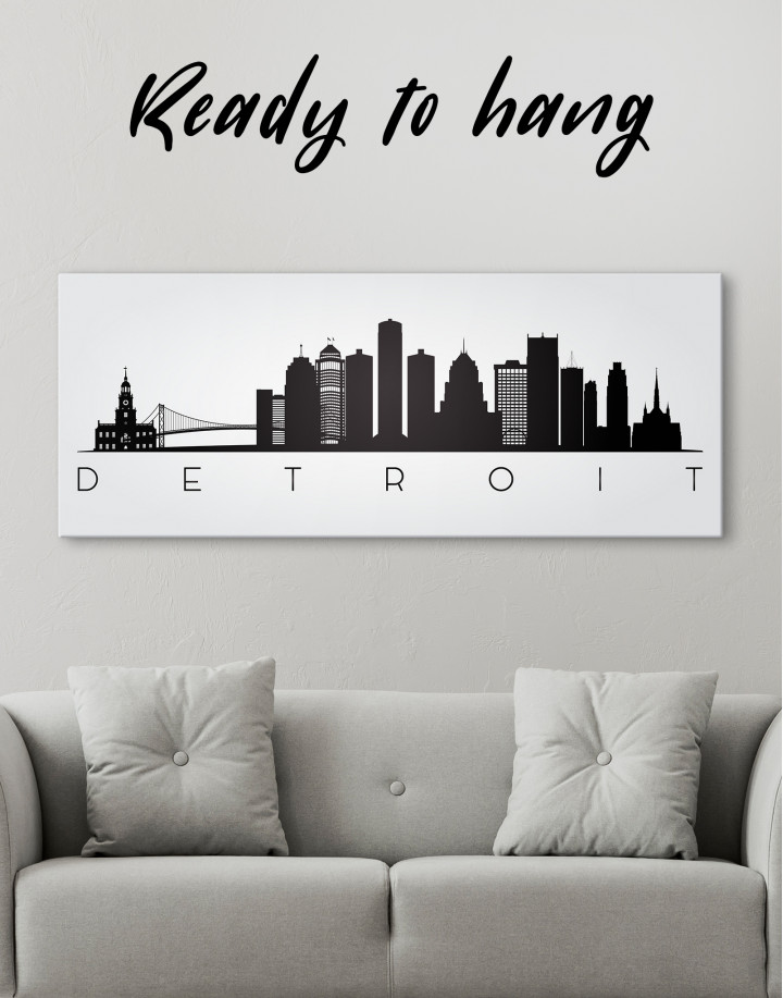 Panoramic Detroit Silhouette Canvas Wall Art