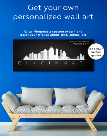 Panoramic Cincinnati Silhouette Canvas Wall Art - image 2
