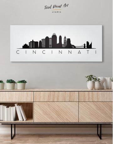 Panoramic Cincinnati Silhouette Canvas Wall Art - image 3
