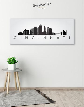 Panoramic Cincinnati Silhouette Canvas Wall Art - image 4