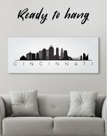 Panoramic Cincinnati Silhouette Canvas Wall Art