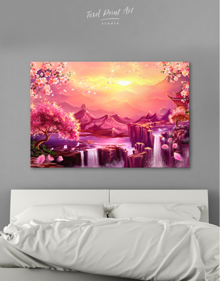 Fantasy Asian Mountain Landscape Canvas Wall Art