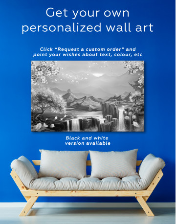 Fantasy Asian Mountain Landscape Canvas Wall Art - image 7