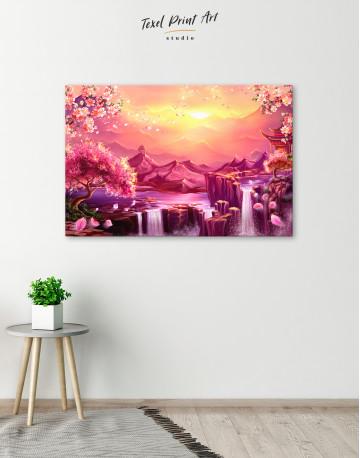 Fantasy Asian Mountain Landscape Canvas Wall Art - image 6