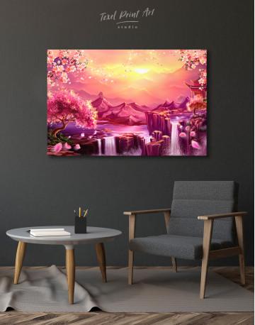 Fantasy Asian Mountain Landscape Canvas Wall Art - image 4
