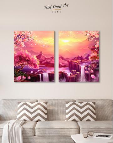 Fantasy Asian Mountain Landscape Canvas Wall Art - image 10