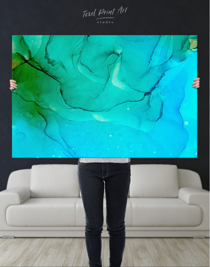 Blue Abstract Painting Canvas Wall Art - Image 3