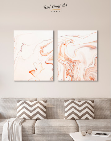 Orange and White Abstract Painting Canvas Wall Art - image 9