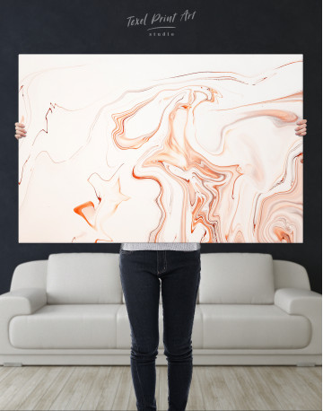 Orange and White Abstract Painting Canvas Wall Art - image 1
