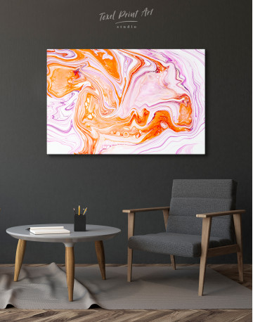 Purple and Orange Abstract Painting Canvas Wall Art - image 4