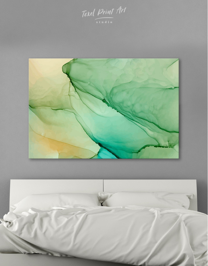 Light Green Abstract Painting Canvas Wall Art