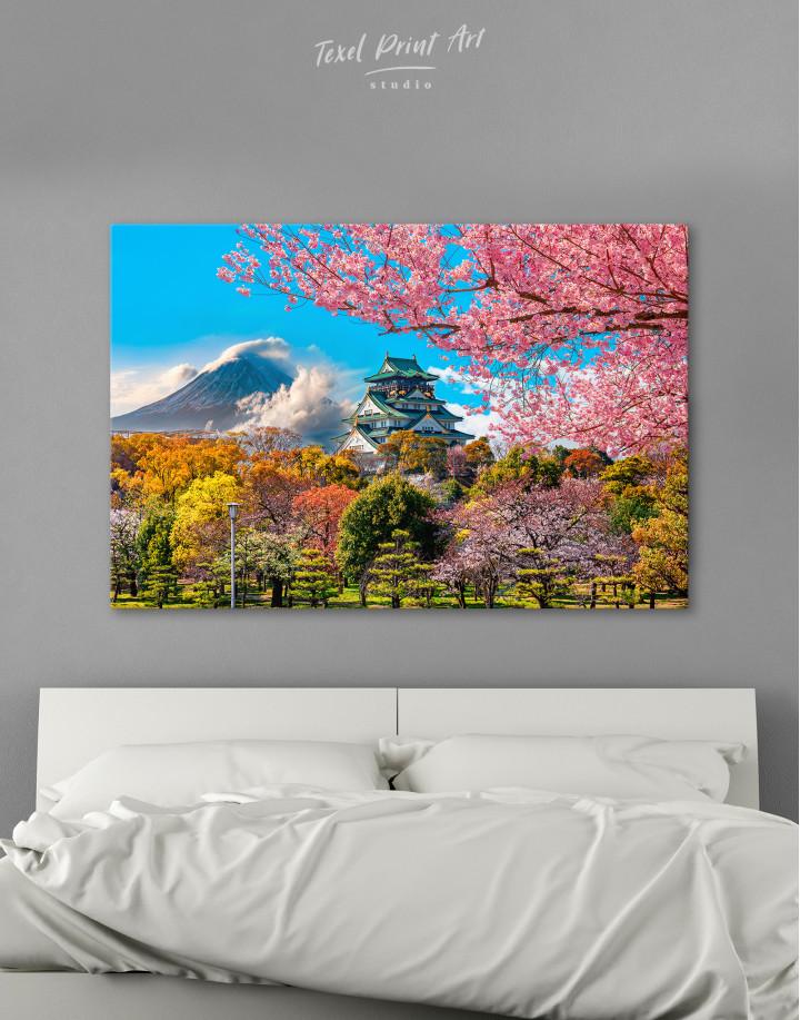 Japan Temple Fuji Mountain Landscape Canvas Wall Art