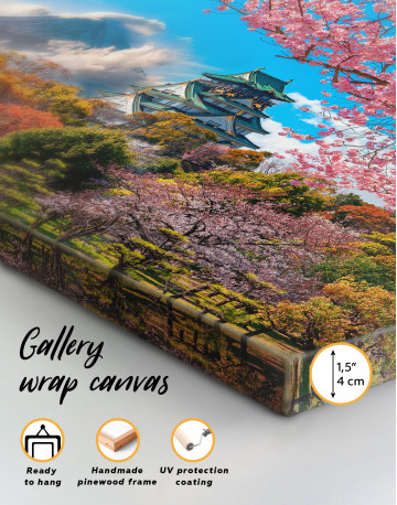 Japan Temple Fuji Mountain Landscape Canvas Wall Art - image 6