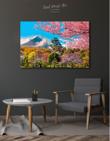 Japan Temple Fuji Mountain Landscape Canvas Wall Art - image 2
