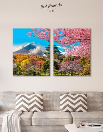 Japan Temple Fuji Mountain Landscape Canvas Wall Art - image 7