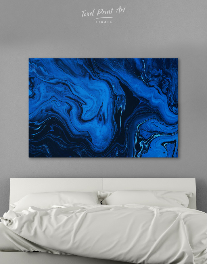 Deep Blue Abstract Painting Canvas Wall Art