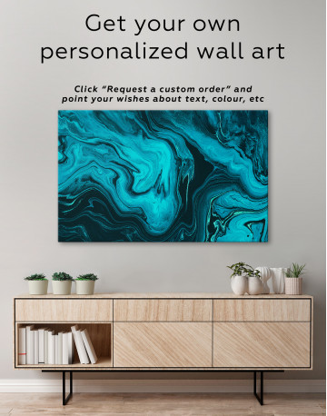 Deep Blue Abstract Painting Canvas Wall Art - image 7