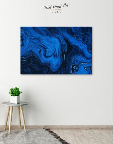 Deep Blue Abstract Painting Canvas Wall Art - image 6