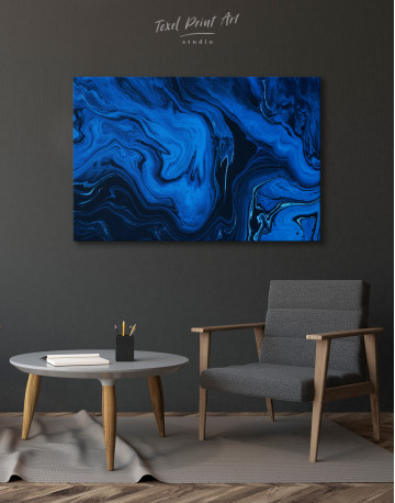 Deep Blue Abstract Painting Canvas Wall Art - image 4