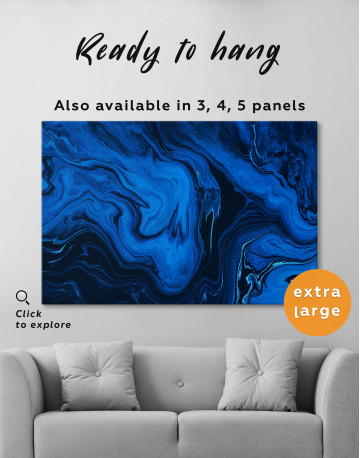 Deep Blue Abstract Painting Canvas Wall Art - image 3