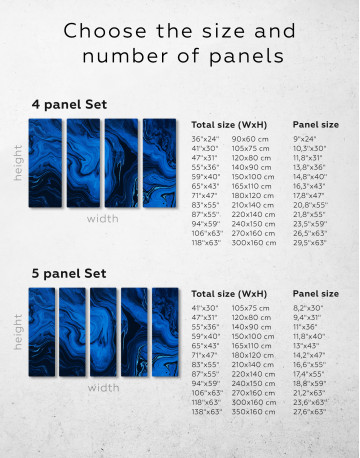 Deep Blue Abstract Painting Canvas Wall Art - image 1