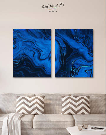Deep Blue Abstract Painting Canvas Wall Art - image 10