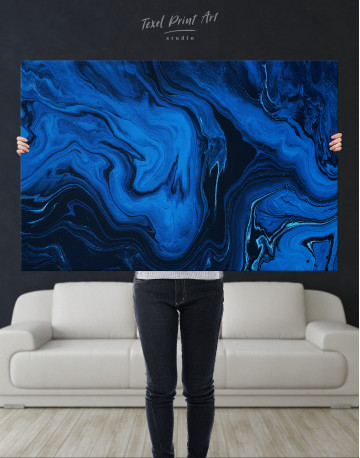Deep Blue Abstract Painting Canvas Wall Art - image 9