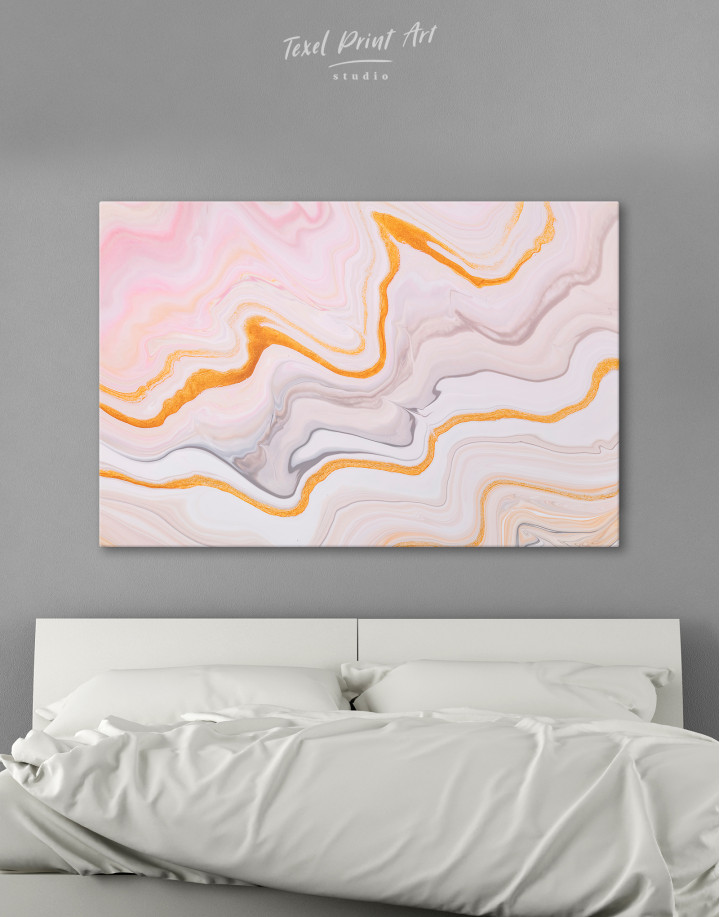 Cream and Orange Abstract Canvas Wall Art