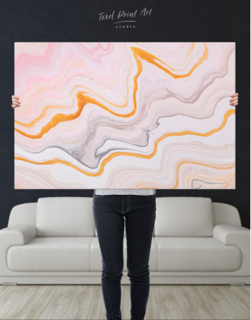 Cream and Orange Abstract Canvas Wall Art - image 9