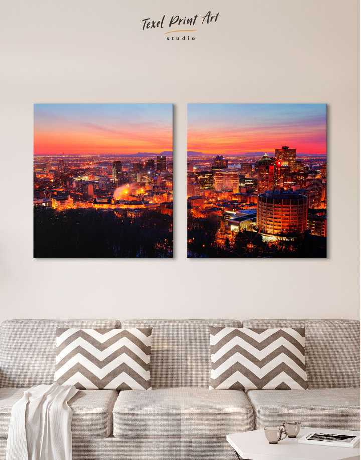 Sunset Cityscape View Canvas Wall Art - Image 1
