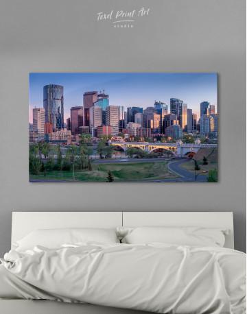 Eau Claire Park Calgary Skyline Canvas Wall Art