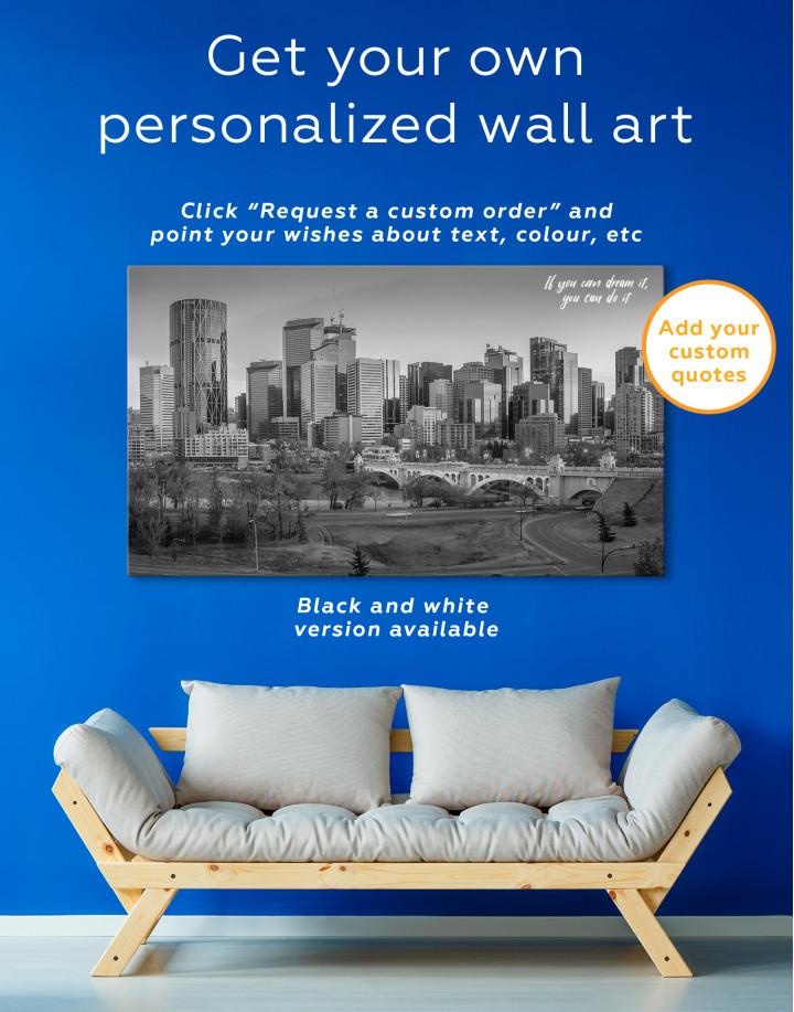 Eau Claire Park Calgary Skyline Canvas Wall Art - Image 1