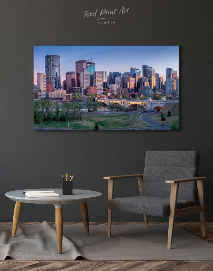 Eau Claire Park Calgary Skyline Canvas Wall Art - Image 4