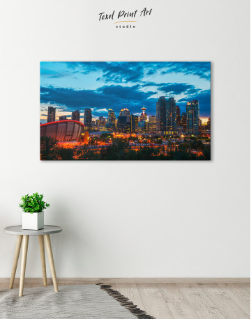 Calgary Cityscape At Enmax Park Canvas Wall Art - image 3
