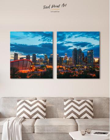 Calgary Cityscape At Enmax Park Canvas Wall Art - image 7