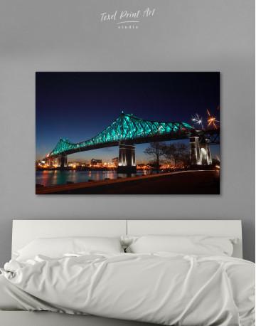 Jacques Cartier Bridge Illumination in Montreal Canvas Wall Art