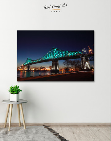 Jacques Cartier Bridge Illumination in Montreal Canvas Wall Art - image 7