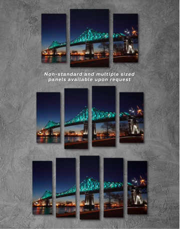 Jacques Cartier Bridge Illumination in Montreal Canvas Wall Art - image 5