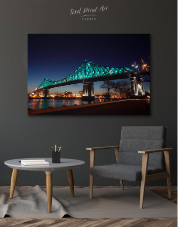 Jacques Cartier Bridge Illumination in Montreal Canvas Wall Art - image 4