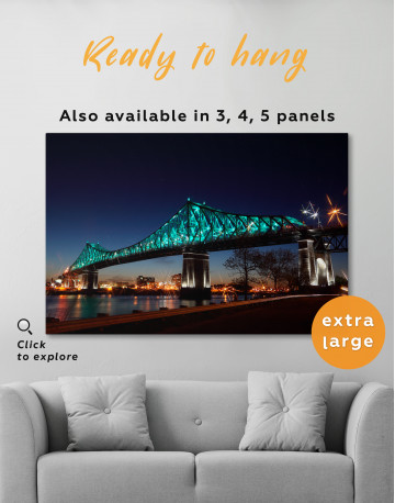 Jacques Cartier Bridge Illumination in Montreal Canvas Wall Art - image 3