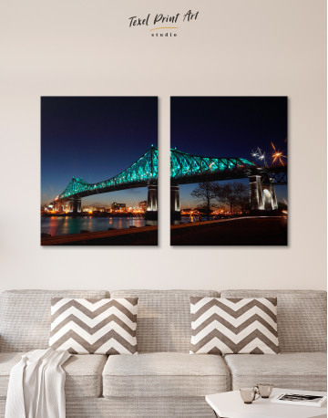 Jacques Cartier Bridge Illumination in Montreal Canvas Wall Art - image 1