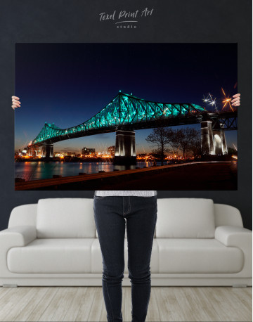 Jacques Cartier Bridge Illumination in Montreal Canvas Wall Art - image 8