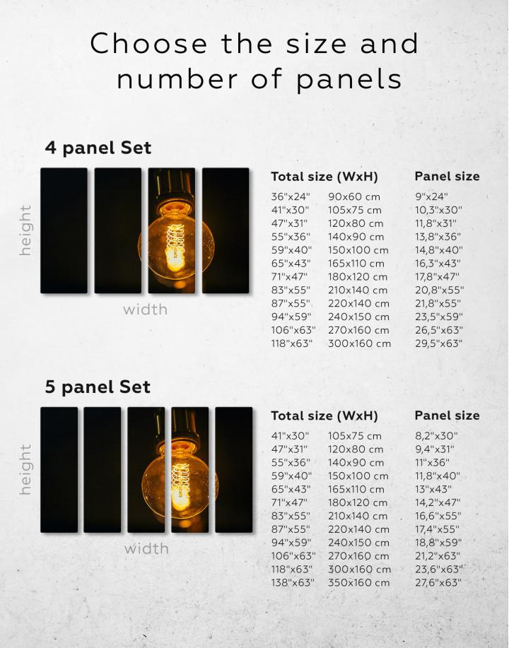 Tungsten Light Bulb Lamp Canvas Wall Art - Image 2