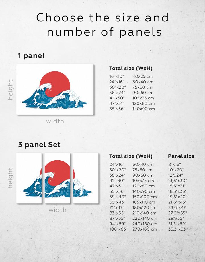 Japanese Waves Canvas Wall Art - Image 3