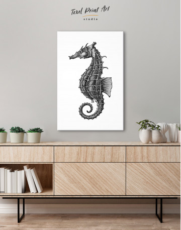 Black and White Sea Horse Canvas Wall Art - image 2