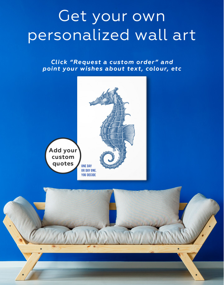 Black and White Sea Horse Canvas Wall Art - Image 3