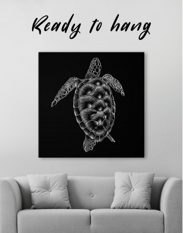 Black and White Sea Turtle Canvas Wall Art