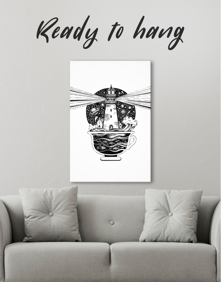 Black and White Abstract Lighthouse Canvas Wall Art